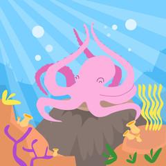 Cartoon Pink Octopus Underwater Deep Ocean Bottom Coral Reef