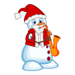 Snowman wearing a Santa Claus costume playing saxophone for your design Vector Illustration