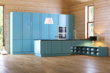 modern blue kitchen in wooden interior