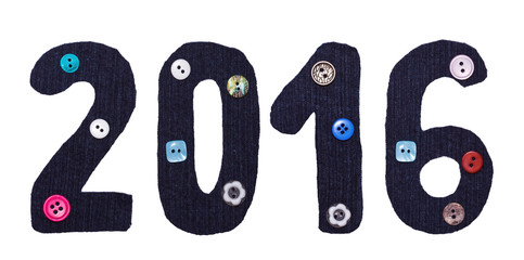 The Christmas from fabric and button form of inscriptions, 2016 numbers, isolated on white