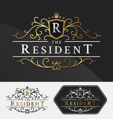 Luxurious Royal Logo Vector Re-sizable Design Template Suitable For Businesses and Product Names, Luxury industry like hotel, wedding, restaurant, jewelry and real estate.Vector illustration