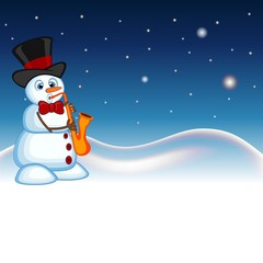 Snowman wearing a hat and a bow ties playing saxophone with star, sky and snow hill background for your design vector illustration