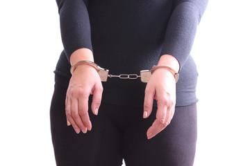Woman handcuffed hands