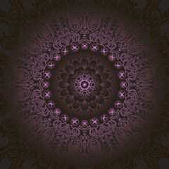 circular pattern fractal graphic carpet with a gradient purple