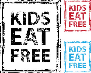 Kids Eat Free grunge stamp Vector