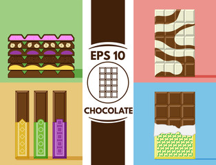 Flat chocolate collection eps10