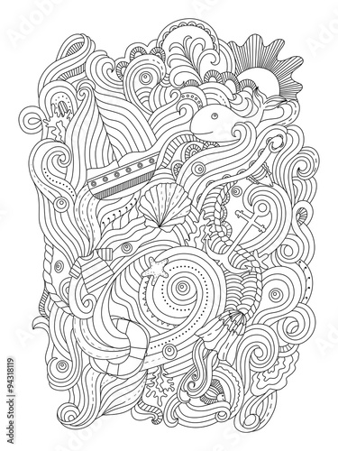 Nautical pattern Adult coloring page Stock image and royalty