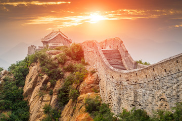 Autocollant pour porte Pekin Great wall under sunshine during sunset,in Beijing, China