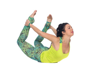 Young woman practicing yoga, cobra position, isolated