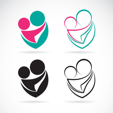 Vector icon image of an mom and baby on white background, Expres