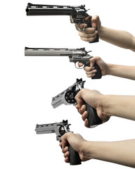Collection of man hand holding gun