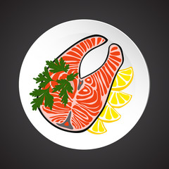 Salmon steak illustration