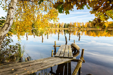 Natural autumn frame with Swedish lake