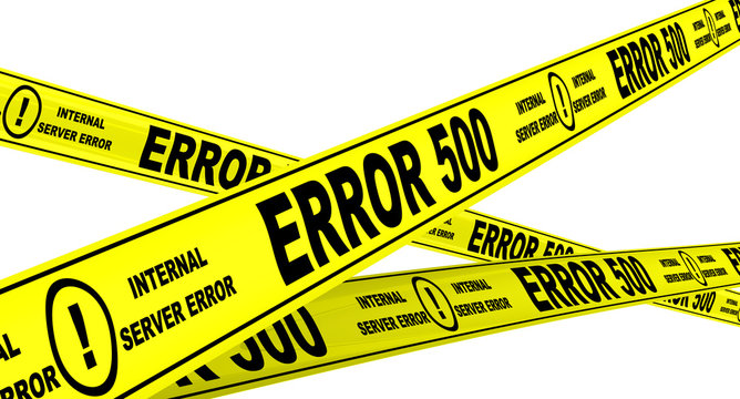 """Yellow warning tapes with inscription """"ERROR 500"""" (Internal server error). Isolated"""