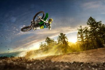 Dirt bike rider is flying high