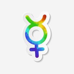 Gender identity icon. Non-binary intersex symbol or virgin female (Mercury) symbol. Sticker with watercolor effect. Vector illustration.