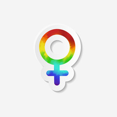 Gender identity icon. Female (Venus) symbol. Sticker with watercolor effect. Vector illustration.