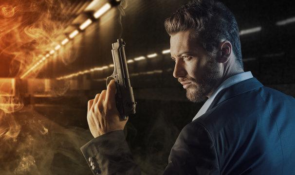 Brave man with handgun