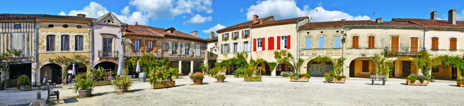 Royal square of Labastide d Armagnac panorama