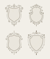 Set of luxury premium stylish templates in the form of a decorative medieval heraldic shields. Hotel, boutique, jewelry sign. Wedding, invitation, logo design. Borders, frames, labels in retro style.