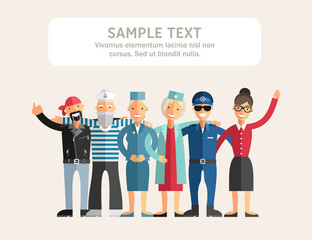 Group of Diverse People in Different Occupations Standing Close to Each Other and Smiling. Flat Design Vector Illustration