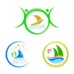A vector drawing represents boat logos design isolated in white background.