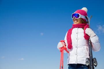 woman in winter resort