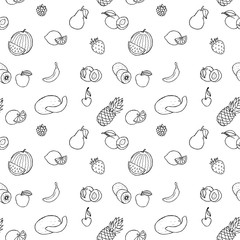 Vector hand drawn fruits and berries seamless pattern