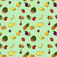 Colorful hand drawn seamless pattern with fruits and berries