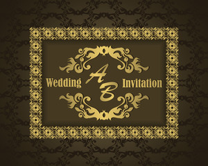 Wedding invitation in vintage style. Seamless background in brown