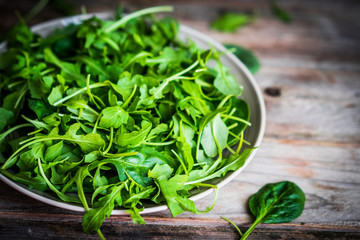 Wall Mural - Fresh arugula and spinach salad on rustic background