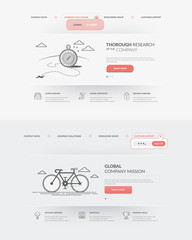 Set of two homepage templates for personal or company business portfolio with concept icons.