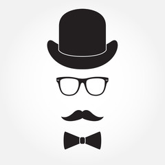 Old fashioned gentleman accessories icons set: hat, glasses, mustache and bowtie. Retro hipster style. Vector illustration.