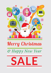 Santa Claus with Gift Icons, Sale Event, Merry Christmas and Happy New year