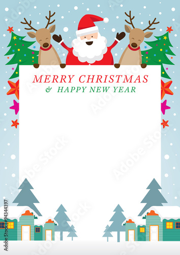 Santa Claus And Reindeer Frame Characters Merry Christmas And