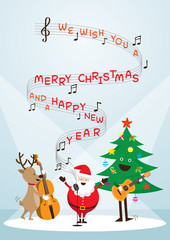 Santa Claus, Snowman, Reindeer, Playing Music, Sing a Song, Characters, Merry Christmas and Happy New year