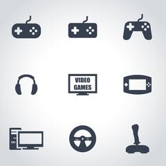Vector black video games icon set