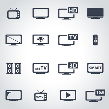Vector black tv icon set