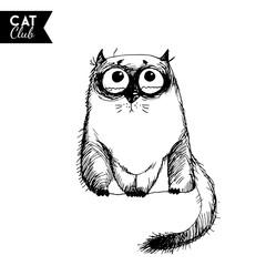 Door stickers Hand drawn Sketch of animals funny cat character