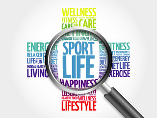 Sport Life word cloud with magnifying glass, health concept
