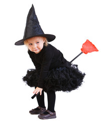 Little witch on broomstick