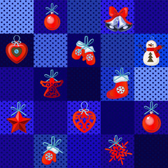 Set of Christmas red toys on a blue background