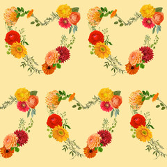 Vintage Colorful Floral Background - seamless pattern