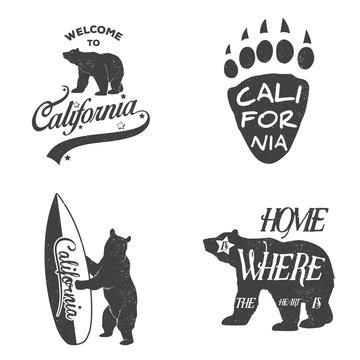 Set of vintage monochrome california emblems and design elements. Grunge effect can be edited or removed