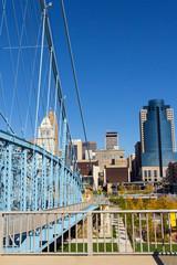 Vertical View of Downtown Cincinnati From a Suspension Birdge