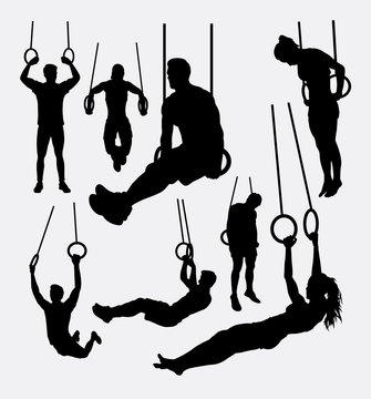 rings workout male and female sport silhouettes. Good use for symbol, logo, web icon, game elements, mascot, or any design you want. Easy to use.