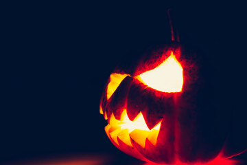 Halloween scary face pumpkin ( Filtered image processed vintage