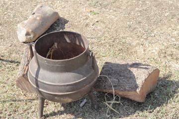 old iron cauldron