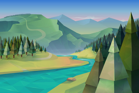 Forest landscape, nature vector background
