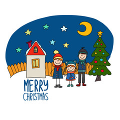 Happy family Chirstmas holidays